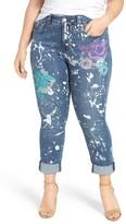 Melissa McCarthy Plus Size Women's Stretch Pop Art Print Roll Cuff Jeans