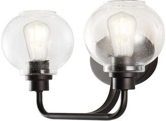 Jonathan Y Designs Sandrine 17.5In 2-Light Iron/Seeded Glass Cottage Rustic Led Vanity Light