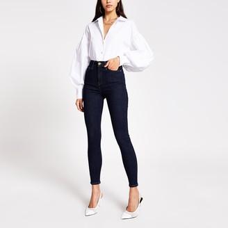 River Island Womens Dark Blue Hailey high rise skinny jeans
