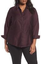 Foxcroft Plus Size Women's Casey Stripe Sateen Blouse