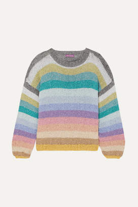 Rose Carmine - Metallic Striped Knitted Sweater - Light blue