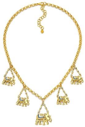 BUDDHA MAMA 20kt Yellow Gold Five Elephant Diamond And Enamel Charm Necklace