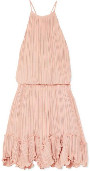 Halston Ruffled Plissé-georgette Mini Dress - Pastel pink