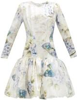 Rodarte Floral-print Sequin Dress - Womens - White Multi