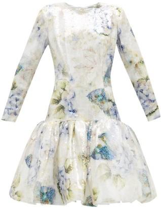 Rodarte Floral-print Sequin Dress - White Multi