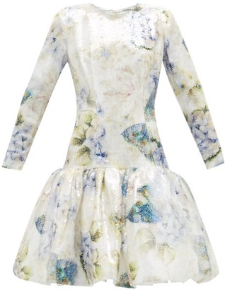 Rodarte Floral-print Sequin Dress - Womens - White Multi