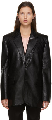 Y/Project Black Faux-Leather Contraband Blazer