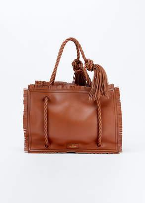 Valentino Garavani The Rope Large Fringe Leather Tote Bag