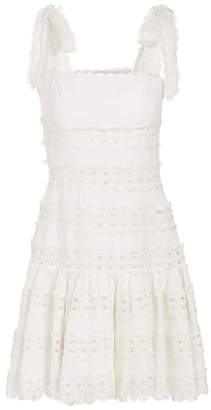Zimmermann Kirra Tie Mini Lace Eyelet Linen A-Line Dress