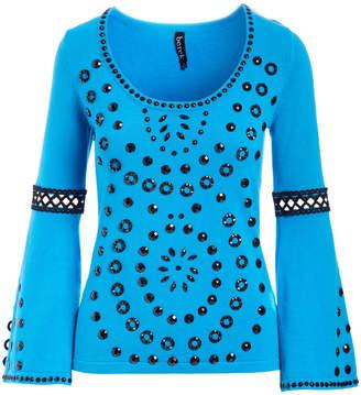 Berek Studio Women's Pullover Sweaters CBT - Cobalt Bead-Accent Bell-Sleeve Scoop Neck Tunic - Women