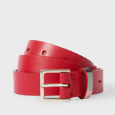 Paul Smith Women's Red Leather Belt With 'Artist Stripe' Keeper