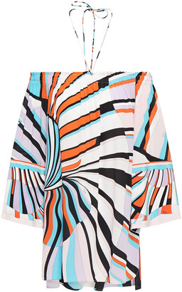 Emilio Pucci Off-the-shoulder Printed Silk Crepe De Chine Top