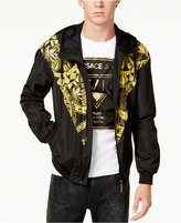 Versace Men's Black and Gold Hooded Windbreaker