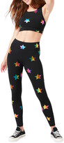 Terez Rainbow Star Foil Printed Tall Band Leggings