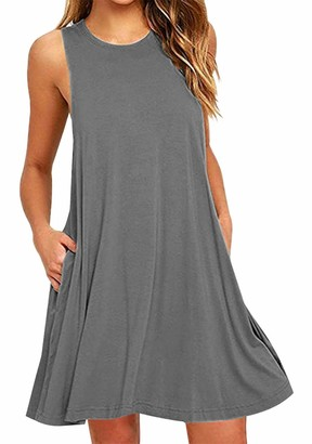 OMZIN Loose Casual Dress for Summer A-Line Shirt Dress Swing Tunic Dress for Women with Pocket Navy Blue M