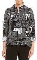 IC Collection Newspaper Print One Button Front Asymmetrical Jacket