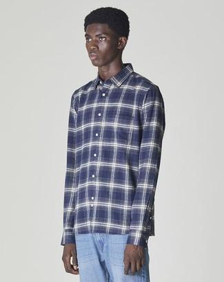 Bellfield Vallegrande Long Sleeved Flannel Shirt Navy - S