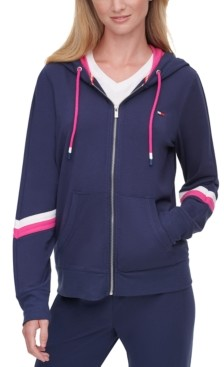 Tommy Hilfiger Striped-Sleeve Zippered Hoodie