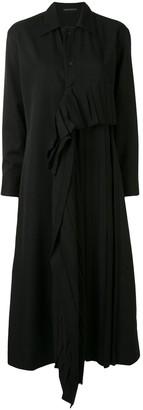 Yohji Yamamoto Long Ruffle-Trimmed Coat