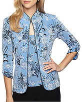 Alex Evenings Petite Mandarin Collar 3/4 Sleeve Floral Print Twinset
