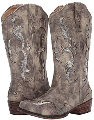 Roper Riley Flextra Glitter (Grey Faux Leather/Metallic Underlay) Cowboy Boots
