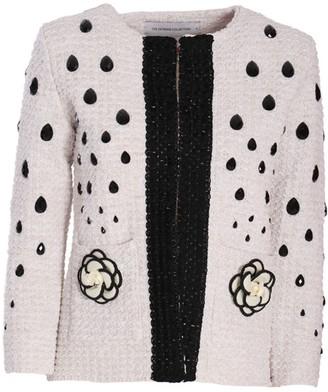 The Extreme Collection White Classic Jacket With Black Embellishment Letizia