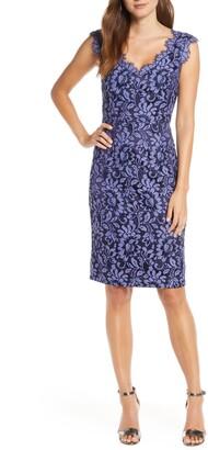 Eliza J Floral Lace V-Neck Sheath Dress