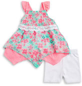 Little Lass Baby Girls Baby Girls Smocked Tunic and Lace Shorts Set