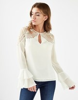 Lipsy Beaded Coldshoulder Frill Sleeve Blouse