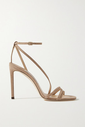 Jimmy Choo Tesca 100 Suede Sandals - Taupe