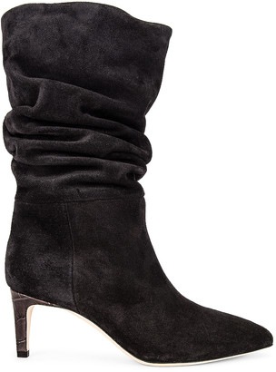 Paris Texas Velour Slouchy Boot in Black | FWRD