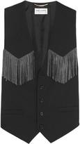 Saint Laurent Studded leather-fringed wool-blend vest