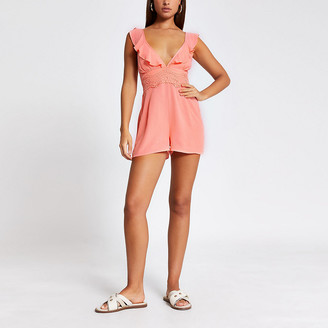 River Island Pink lace frill V neck beach playsuit