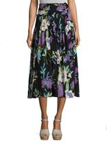 Diane von Furstenberg D Ring Floral Print Midi Skirt