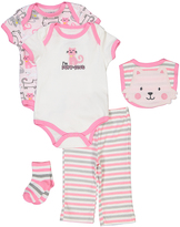 Buster Brown Pink & Heather Gray 'Purrfect' Five-Piece Layette Set - Infant