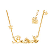 Disney Gold Plated Believe Tinkerbell Necklace