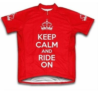 Scudo Sports Wear Scudo Keep Calm and Ride On Microfiber Short-Sleeved Cycling Jersey, Red, L
