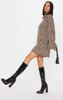 PrettyLittleThing Beige Leopard Print Rib Roll Neck Flare Sleeve Jumper Dress