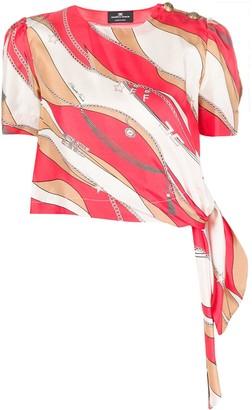 Elisabetta Franchi Scarf Tie Chain-Print Silk Top