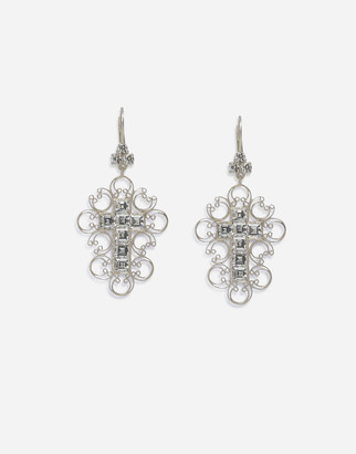 Dolce & Gabbana Barocco Earrings In White Gold With Diamonds