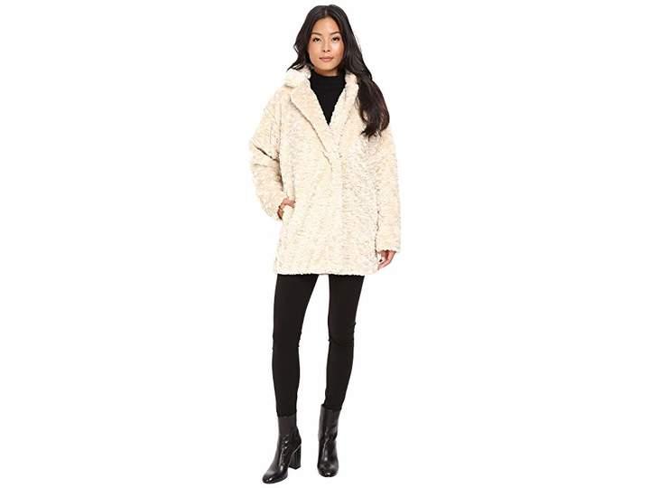 Calvin Klein Faux Fur with Hidden Clip Closure Women's Coat