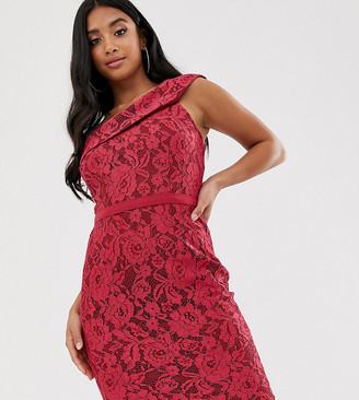 Little Mistress Petite one shoulder all over lace midi dress-Pink