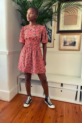 Topshop TALL Red Animal Print Puff Sleeve Mini Dress