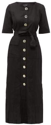 Saloni Susie Buttoned Cotton-blend Shirtdress - Womens - Black