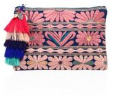 Figue Samoa Floral-Embroidered Canvas Pouch