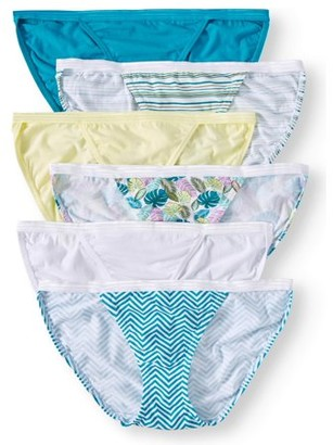 Secret Treasures Women's cotton stretch string bikini panties, 6 pack