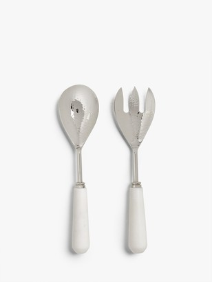 John Lewis & Partners Marble Handle Salad Servers, Set of 2, White/Silver