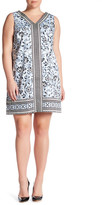 London Times Scroll Flower Border V-Neck Shift Dress (Plus Size)