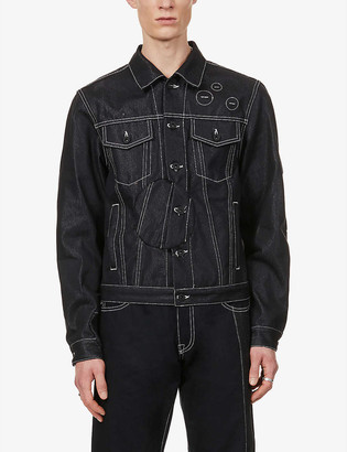 Off-White Graphic-embroidery brand-print stretch-denim jacket