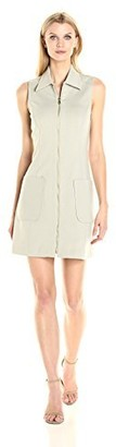 Sharagano Women's Sleeveless Zippered Ponte Dress
